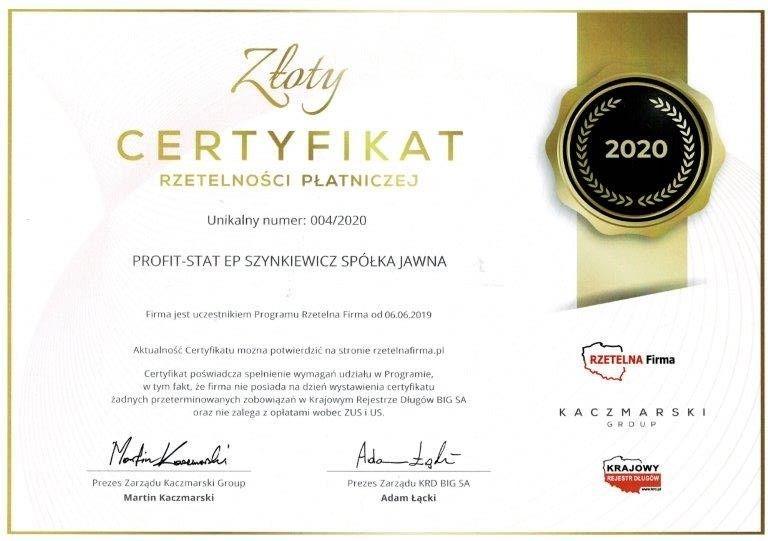 PROFITSTAT certyfikat rzetelnosci platniczej 2020