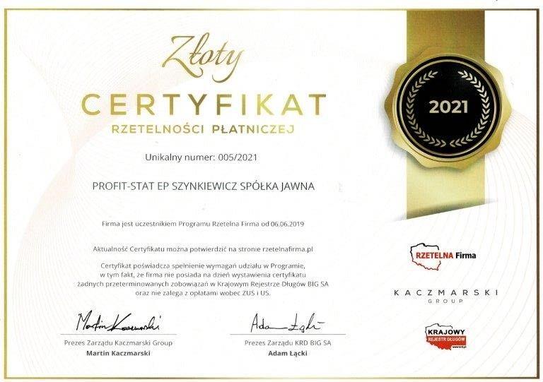 PROFITSTAT certyfikat rzetelnosci platniczej 2021